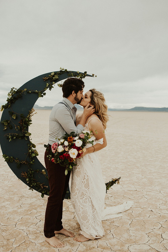Edgy Lunar Picnic Elopement In The Desert