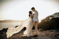01 This edgy meets boho elopement took place in Santorini