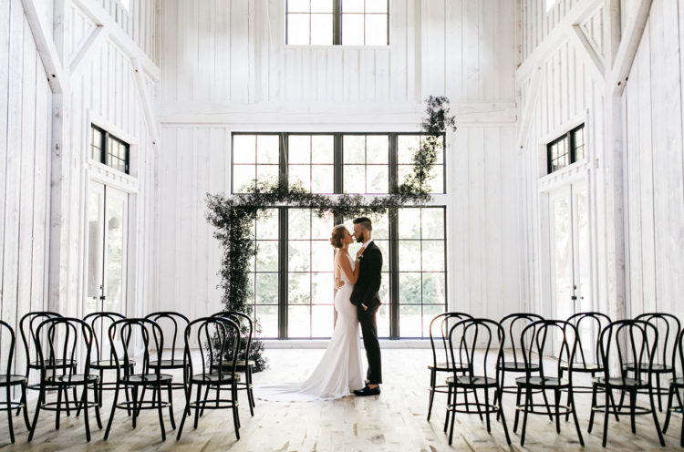 Fashion-Forward Black And White Wedding In A Barn
