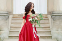 02 The bride chose a fantastic red off the shoulder A-line wedding dress that made a statement