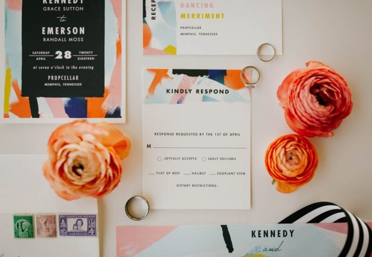 The wedding stationery was colorful with brushstrokes with fun letters
