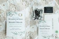 02 The wedding stationery was done in black and white with greenery prints to remind of the wedding decor