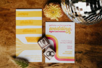 02 The wedding stationery was done in bright colors and with cool prints inspired by the 70s