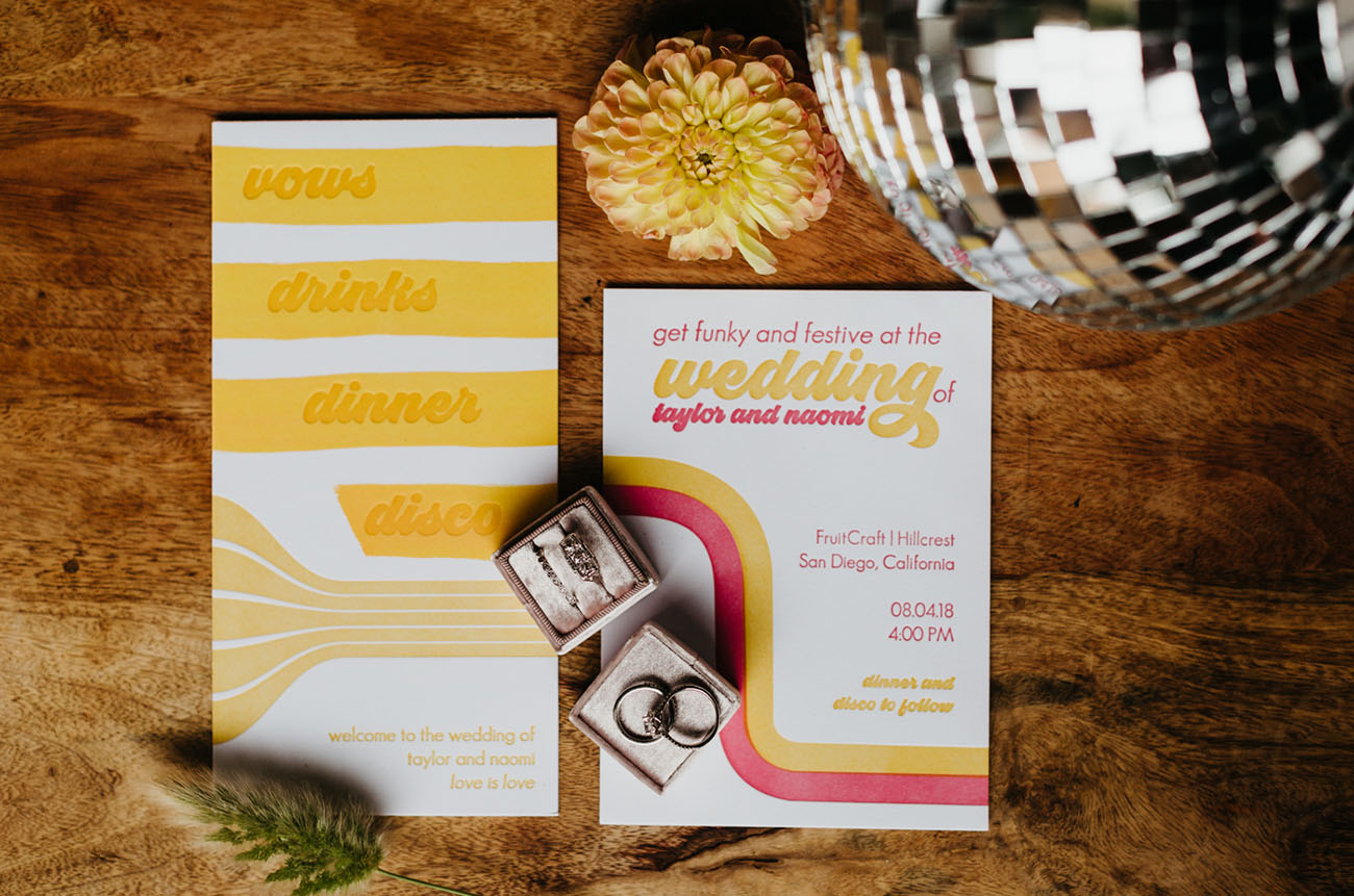 The wedding stationery was done in bright colors and with cool prints inspired by the 70s