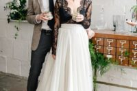02 a black and white wedding separate with an ombre draped skirt and a black lace sheer top