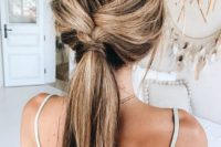 02 a loose braid into a ponytail is a cool idea for a boho or rustic wedding