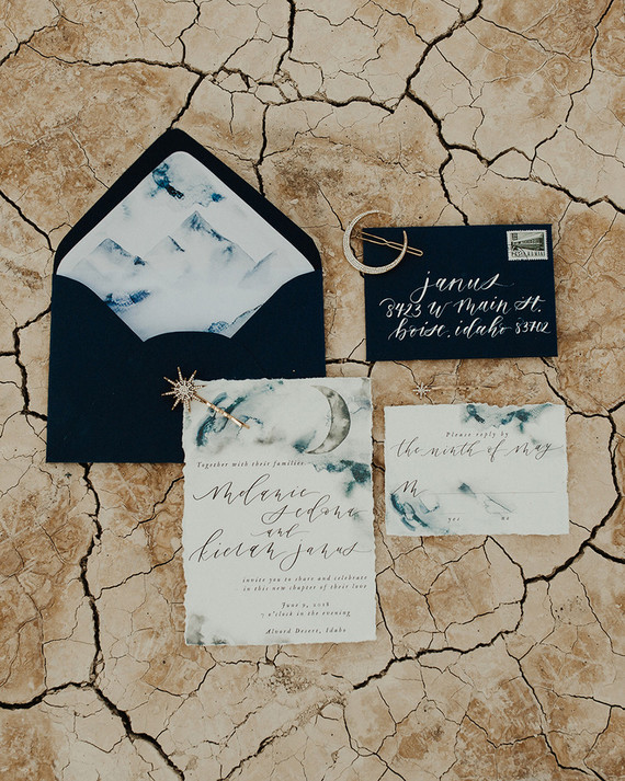 The wedding stationery was done with black envelopes and watercolor grey and blue with calligraphy and lunar motifs