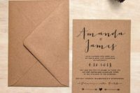 03 a simple eco-friendly wedding invitation suite of recycled paper and with printing