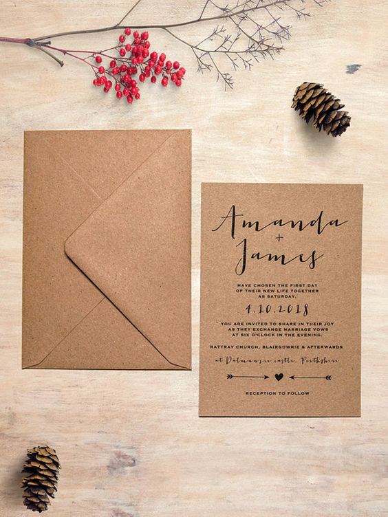 a simple eco-friendly wedding invitation suite of recycled paper and with printing