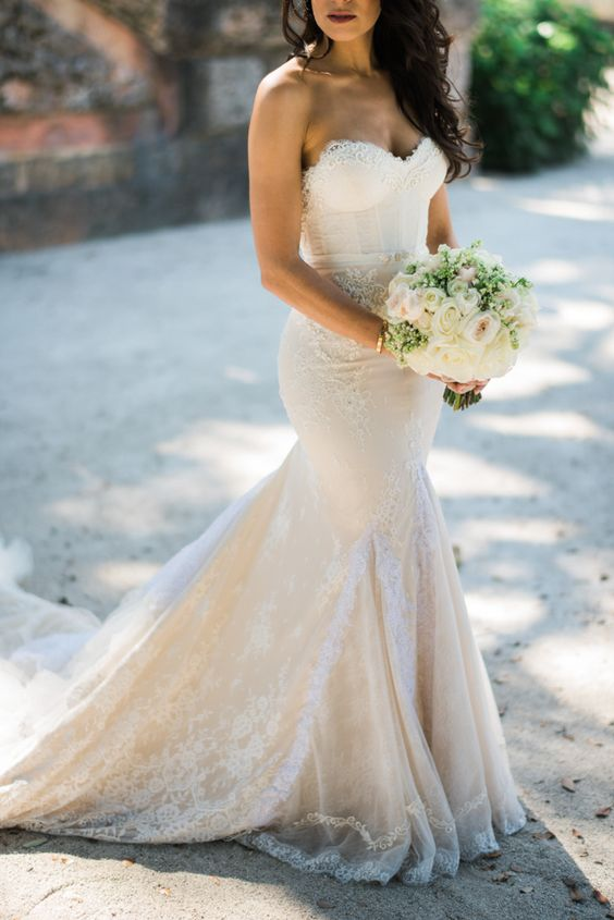 7253978aff0 a super sexy ivory mermaid lace gown with a sweetheart neckline and a train  plus an