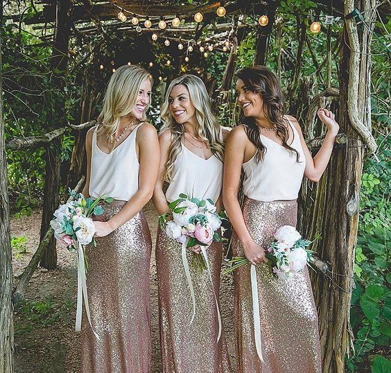 bridesmaids' separates with white strap tops and blush sequin maxi skirts for a relaxed and chic look