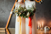 04 The first pair of wedding gowns was with lace bodices, illusion necklines and flowy skirts