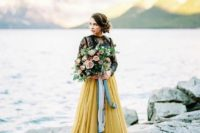04 a black sheer lace bridal top and a yellow pleated skirt for a bold fall bridal look