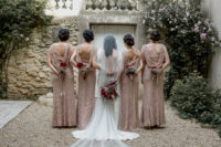 05 The bridesmaids were rocking blush pink dresses with delicate beding and a cowl back