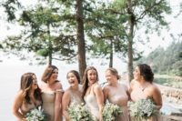 05 The bridesmaids were wearing mismatching nude wedding gowns and various updos or loose waves