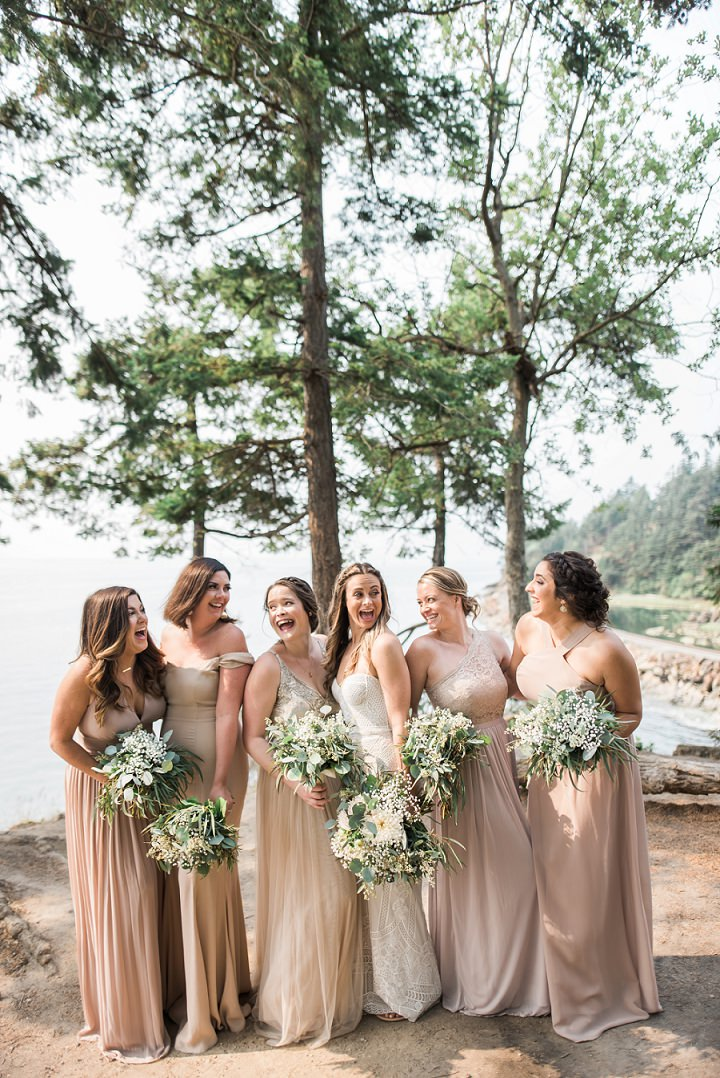 The bridesmaids were wearing mismatching nude wedding gowns and various updos or loose waves