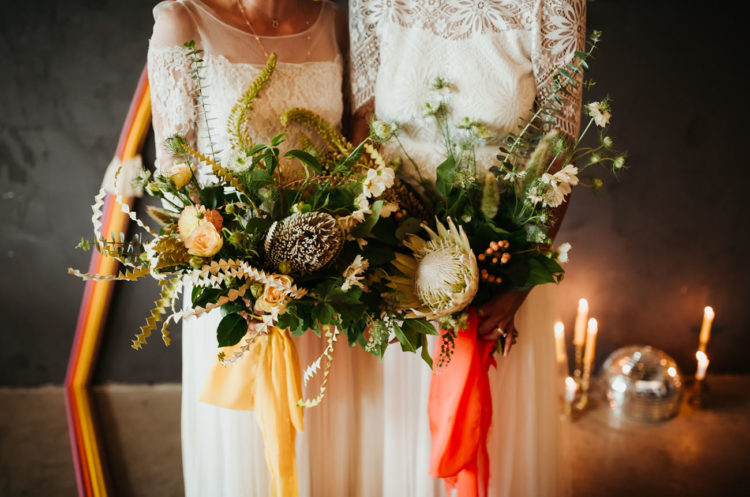 The wedding bouquets were textural and dimensional