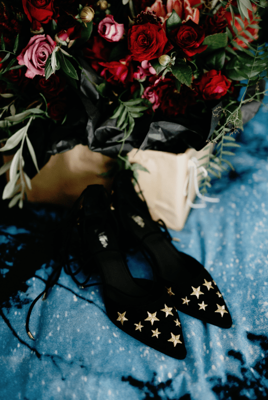 The wedding shoes were black ones topped with gold stars
