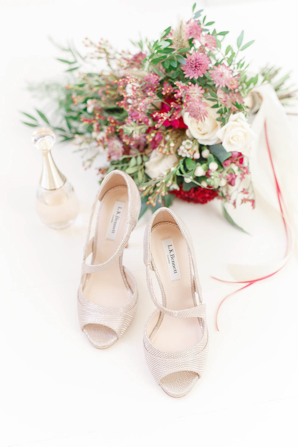 The wedding shoes were sparkling ones for a elegant and shiny touch