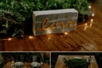 concrete decor for a wedding table