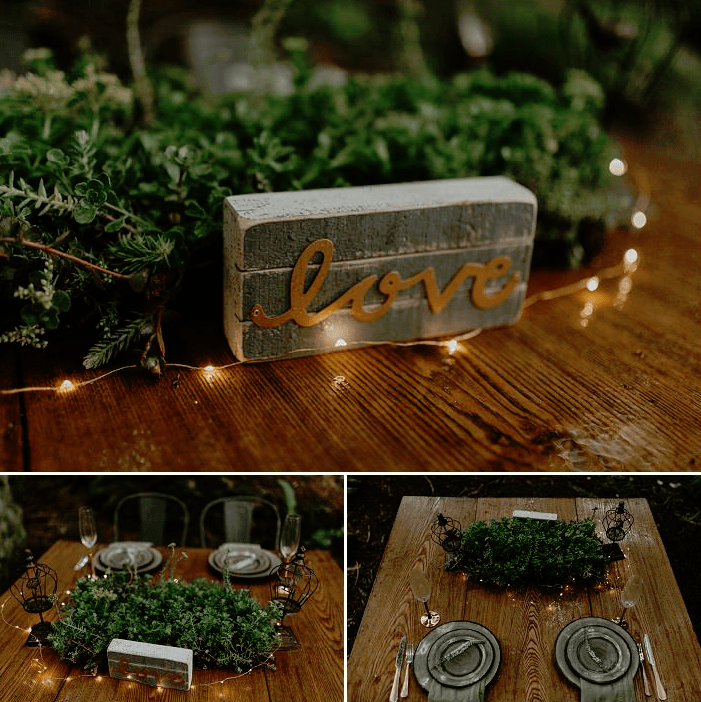 The wedding table was styled simply, with greenery, LEDs, grey chargers and plates