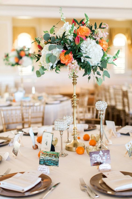 picture of a cute tall wedding centerpiece with white