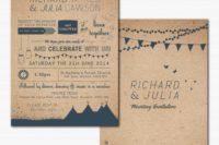 05 a summer wedding invitation suite made of recycled paper and with teal printing
