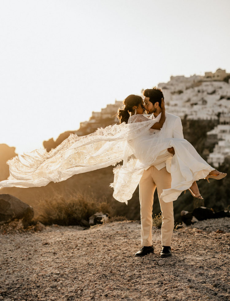 Santorini is a gorgeous place to elope, there are amazing views