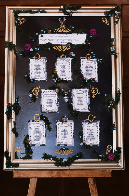 The wedding seating plan was done with a chalkboard, moss, blooms and vignettes