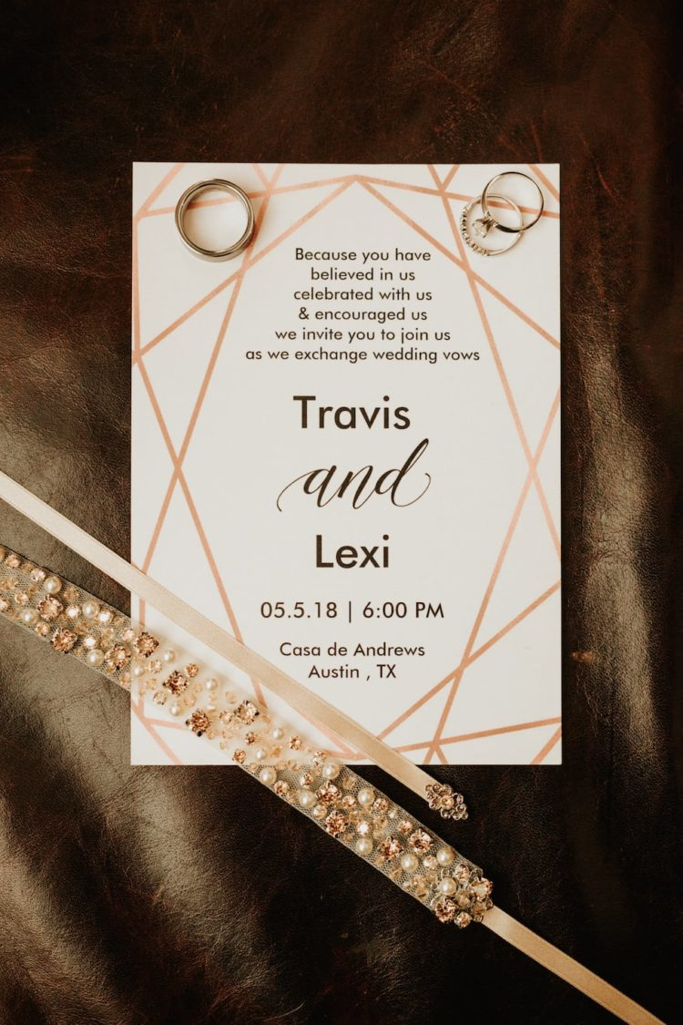 The wedding stationery was geometric and modern