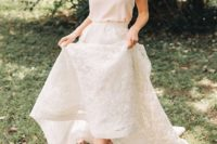 06 a chic bridal look with a creamy spaghetti strap top, a white lace maxi skirt and strappy sandals
