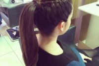 06 a high ponytail with a side braid for an accent is a chic and creative idea to spruce up a usual ponytail