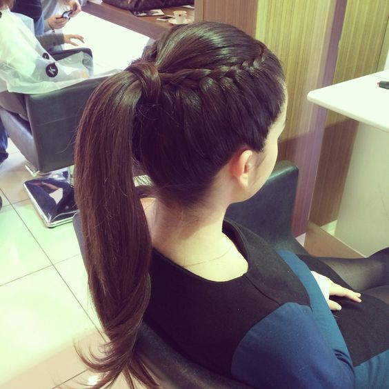 a high ponytail with a side braid for an accent is a chic and creative idea to spruce up a usual ponytail