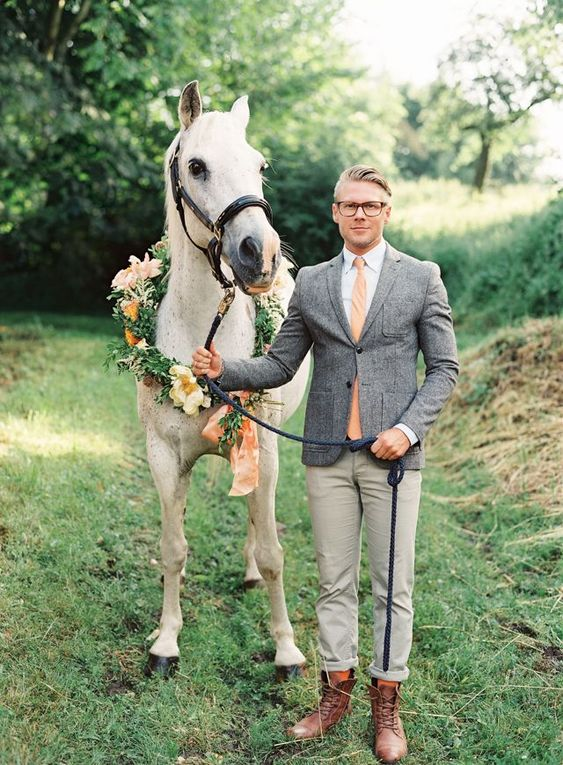 a rustic wedding look without a suit, with brown boots and no socks for a relaxed feel