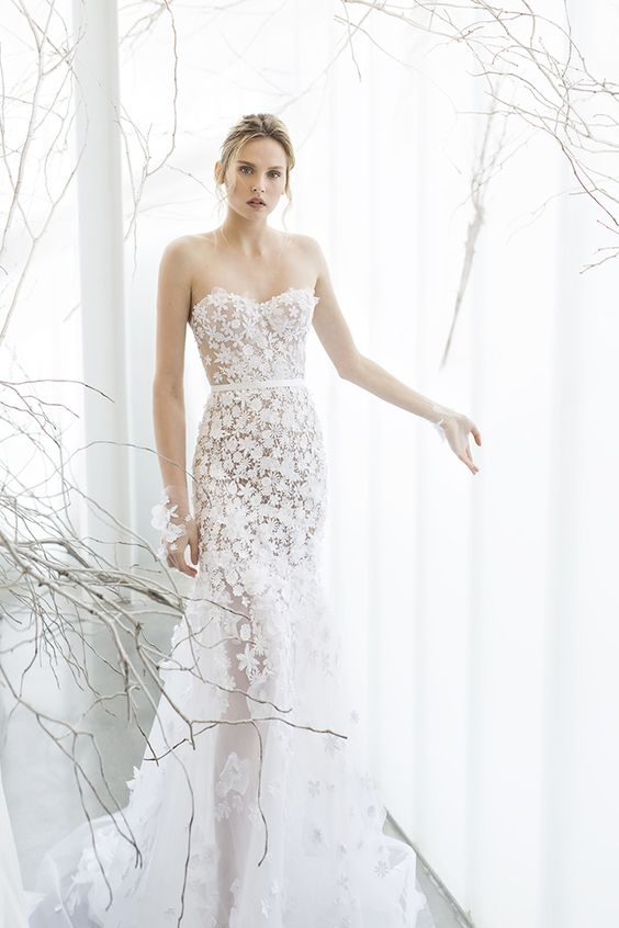 a strapless floral lace applique A-line wedding dress for creating a blooming look