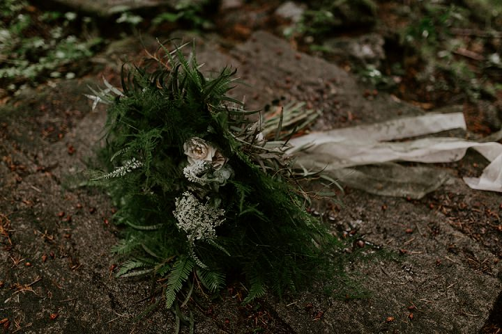 The wedding bouquet was a woodland one, with ferns, antlers and some wildflowers