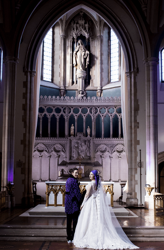 The wedding took place in a chapel that felt rather solemn and gothic