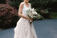 07 a chic bridal separate with a blush draped maxi skirt and a white top for a relaxed look
