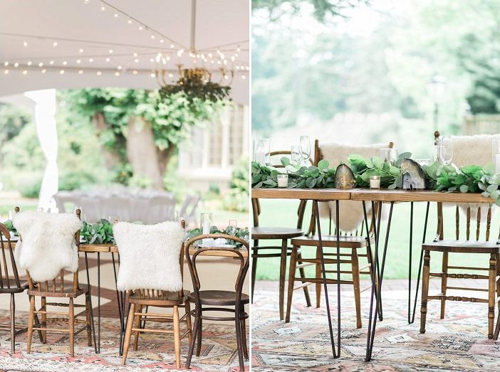 Hairpin leg tables and mismatching chairs made the space more informal and relaxed