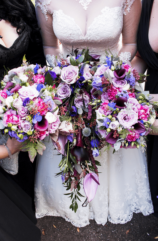 The bouquets were super bright and bold ones, with pink, purple and blue flowers