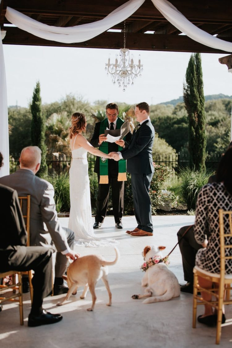 The ceremony took place on a terrace with an amazing garden view