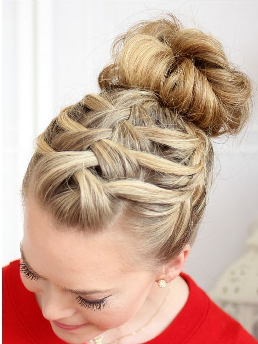 a triple French braid with a top knot is a wow idea for a rustic or boho bride