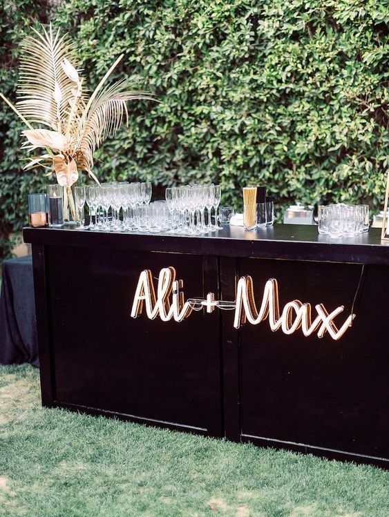 mark the wedding bar with neon names or monograms for a bold look and a personalized touch