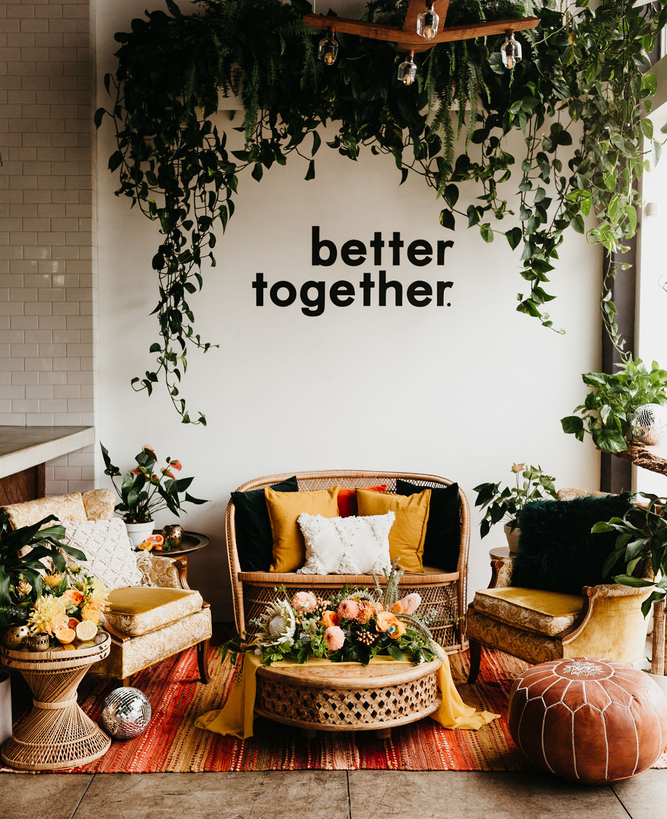 The wedding lounge was a vintage boho one, with bright pillows and rugs