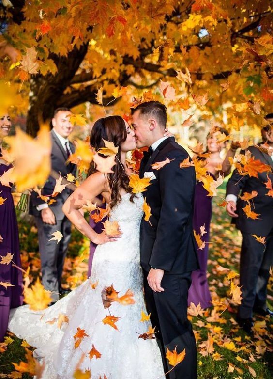 colorful fall leaves are a great idea for a fall wedding, just gather some or buy them at a store