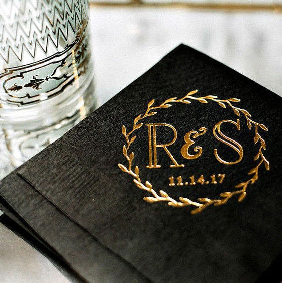personalized bar napkins with your monograms and a wedding date