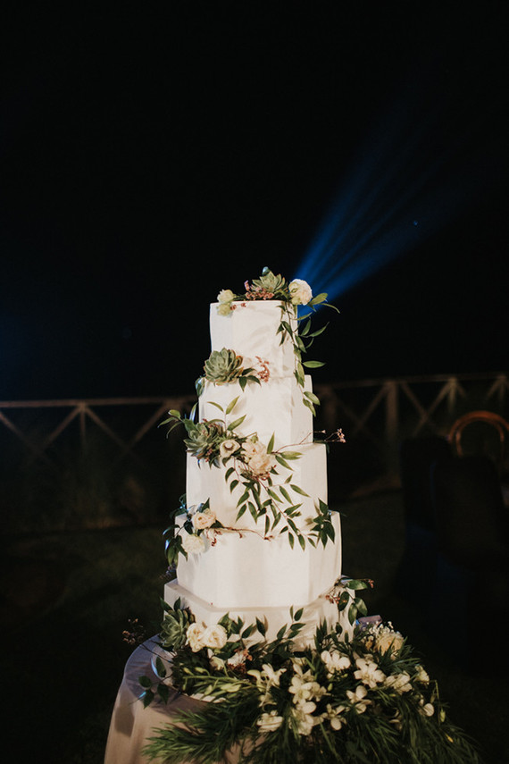 The wedding cake was a white one, with faceted sides and much foliage, white blooms and succulents