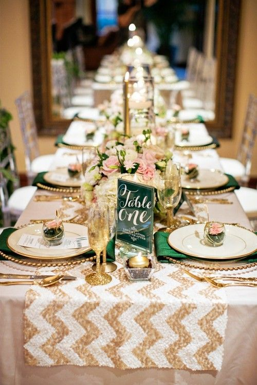 a sequin chevron table runner in silver and gold, sequined glasses and gold touches for a bold and chic tablescape