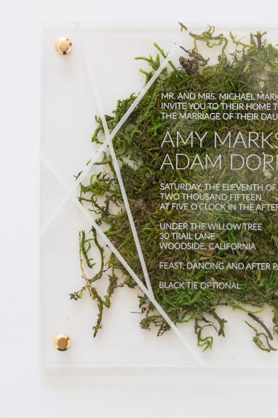 an acrylic wedding invitation with real moss inside and geometric touches for a modern affair