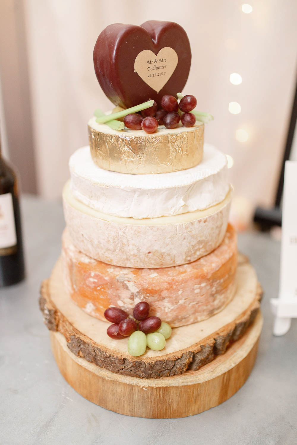 A cheese tower was a fresh take on a traditional wedding cake, and there were large lemon pies to warm everyone up